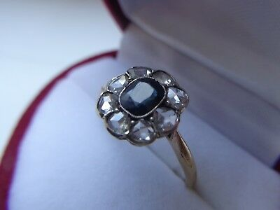 Antique One Of Kind Hand Made 18K Gold Ring With Diamonds Old Cut.sapphire #2