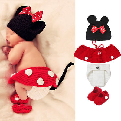 Cute Minnie Mouse Knitwear Costume Photography Prop Hat Cap Baby Infant Newborn