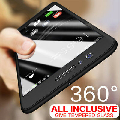 For Huawei Y6 Y5 Y9 2018 Hybrid 360° Full Protection +Tempered Glass Case Cover