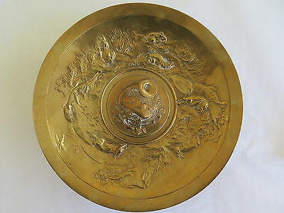 Rare Antique French Bronze Tazza Signed by Auguste Nicholas Cain - Hunt Scene