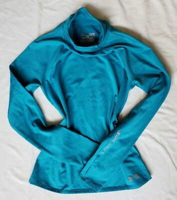UNDER ARMOUR YOUTH LARGE LONG SLEEVE SHIRT teal BLUE girls TOP a5