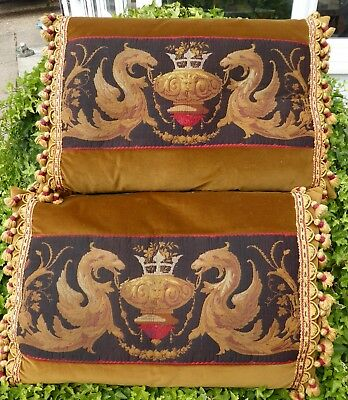 LARGE PAIR OF FEATHER FILLED CUSHIONS PHOENIX 1930,s  FREE SHIPPING ENGLAND