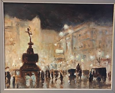 "ANTIQUE EARLY 20th CENTURY ENGLISH IMPRESSIONIST OIL ON CANVAS ""PICCADILLY""."