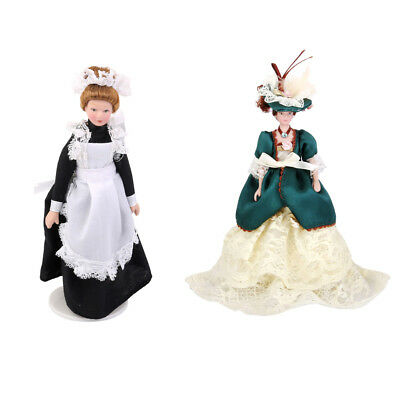 Dollhouse Porcelain Doll People Figure Victorian Lady in Dress Gown& Servant