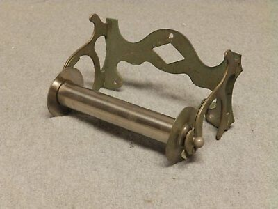 Antique Nickel Brass Victorian Toilet Paper Tissue Holder Vtg SMG Fixture 372-16