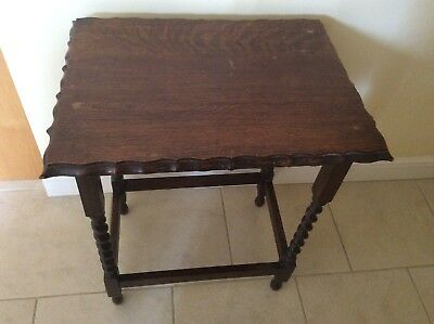 Antique Dark Oak Rectangle Small Hall Table With Barley Twist Legs