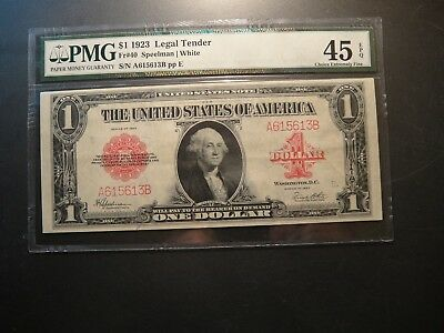 1923 US $1 Legal Tender Note. Red Seal. PMG Choice Extremely Fine 45 EPQ.
