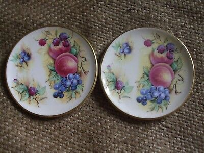 """Pair of Crown Staffordshire Miniature Plaques 7.5cm 3"""" Made in England"""