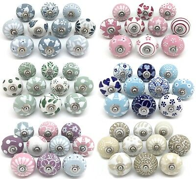 SETS OF 10 CERAMIC KNOBS Drawer Pulls Cupboard Handles Door Vintage Shabby Chic