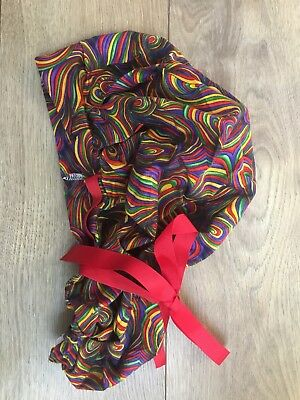Scrub Hat Hair Cover Drawstring Ponytail Red Colorful