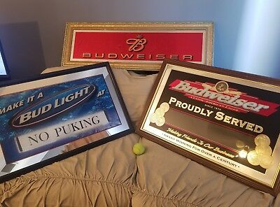 6 Beer  Mirrors, 2  you can put your own message in.  Budweiser Bud Light .