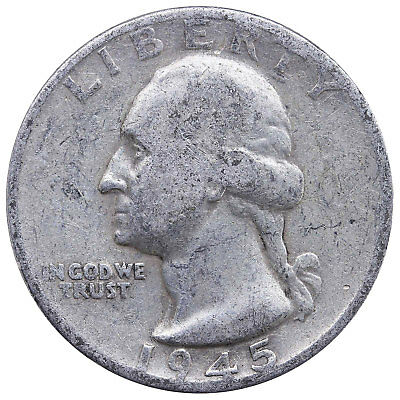 1945 S Washington Quarter 90% Silver Very Good VG