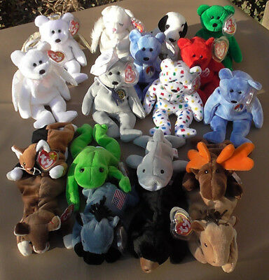 1396ea61e84 Ty Beanie Babies Lot 18 Lived Lives in Cases Rare   Retired 16 w Tag