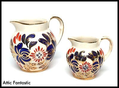 PAIR of OLD COURT WARE POTTERY JUGS by J.FRYER VERY EARLY EXAMPLES C.1900 - GC