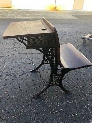 Antique Child's School Desk with Folding Chair Iron Work ( Bench )