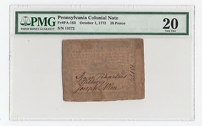 Pennsylvania Colonial Note Fr# PA-163 October 1, 1773 18 Pence (PMG) 20 V.F.