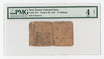 New Jersey Colonial Note Fr#NJ-124 October 20, 1758 15 Shillings (PMG) 4 Good