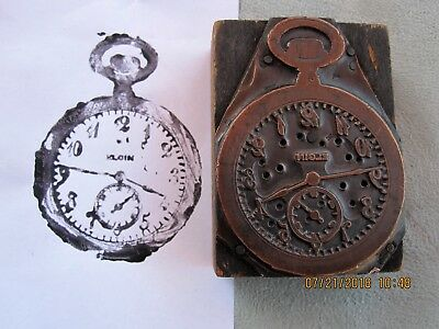 Antique ELGIN Watch Copper-and-Wood Printing Block