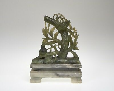 Antique / vintage Chinese soapstone carving of a bird in a tree
