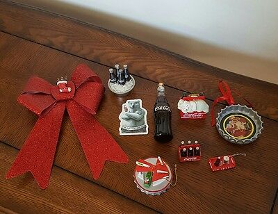 Lot of 9 Pcs. Coca Cola Collection Ornaments,  Decorations, and Magnet