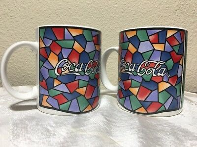 COCA COLA 2 COFFEE MUGs 1996 COLORFUL  MOSAIC STAINED GLASS PATTERN by GIBSON