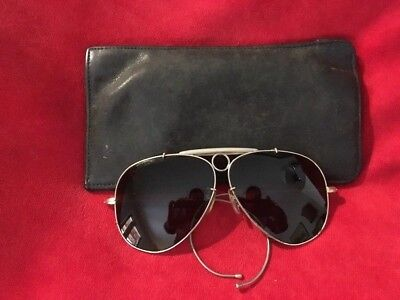 Vintage Shooter Aviator Bullet Hole Sunglasses-Marked Japan with Coach Soft Case