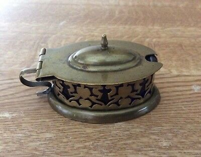 Vintage Brass Oval Mustard Pot With Liner