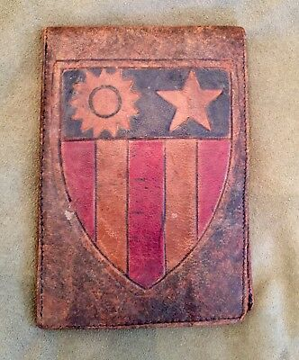 ORIGINAL WWII LEATHER WALLET CBI Flying Tigers Taj Mahal China Burma India
