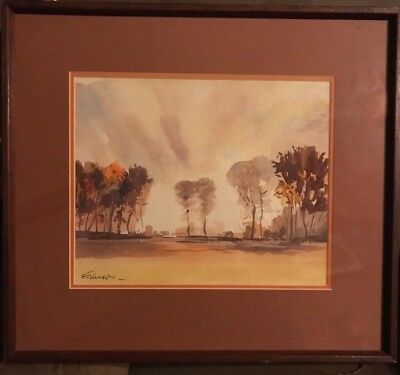 Fred Nicholas Landscape Watercolor Painting Signed Matted And Framed
