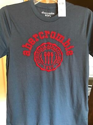 Abercrombie Boys Sz 13/14 Blue With Red Trim Graphic Short Sleeve Tee