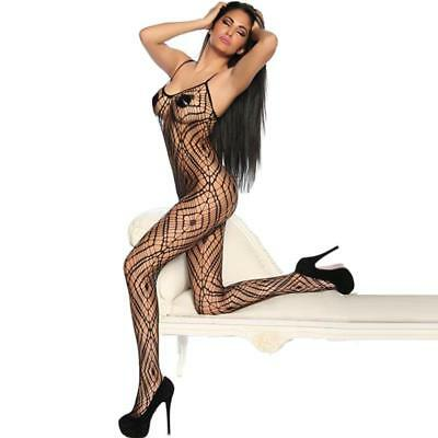 Bodystocking Crotchless Net Pattern in Black Size XS-L