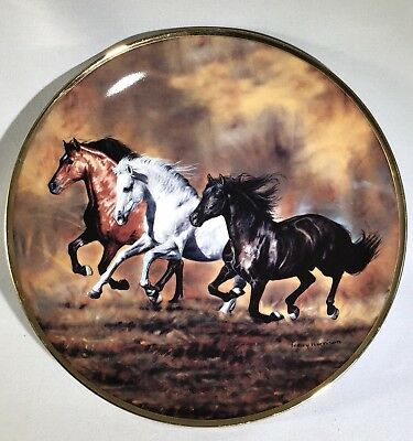 "Danbury Mint Horses Running ""Brothers Of The Wind"" Collectible Plate"