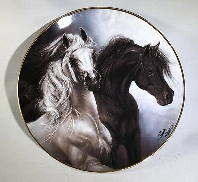 "Danbury Mint Black & Grey Arabian Horses ""Set Free"" Collectible plate"