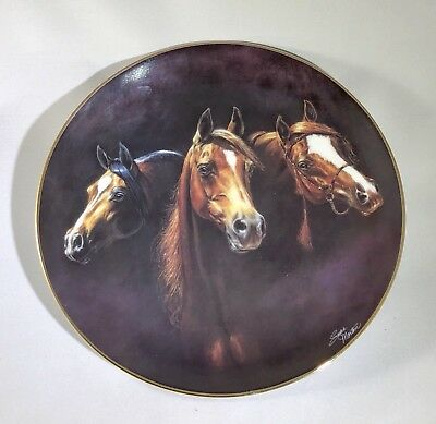"Danbury Mint 3 Arabian Horses ""Entering The Light"" Collectible Plate"