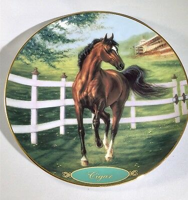 "Danbury Mint ""Cigar"" Champion Thoroughbred Racehorse Collectible Plate"