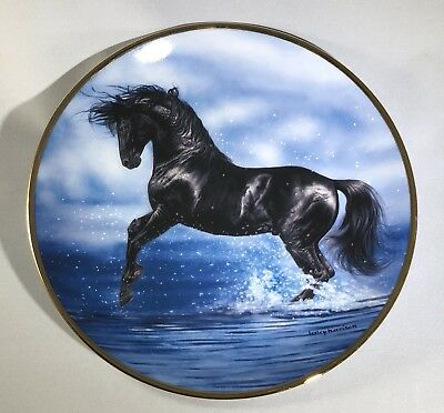 "Danbury Mint Black Horse ""Splash Dance"" Collectible Plate"
