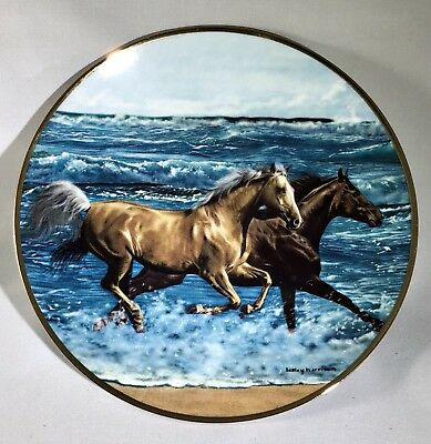 "Danbury Mint Palomino & Chestnut Horse ""Surf Runners"" Collectible Plate"