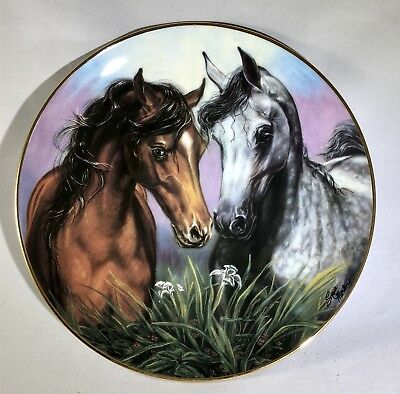 "Danbury Mint Bay And Grey Arabian Horses ""Love Conquers All"" Collectible Plate"