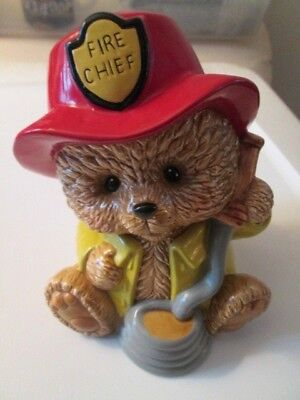Vintage Lefton Bank Fire Chief Bear With Stopper Excellent