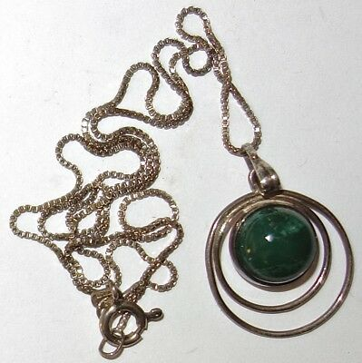 "VINTAGE Modernist STERLING PENDANT w/GREEN STONE on a 16"" STERLING CHAIN~LOT #1!"