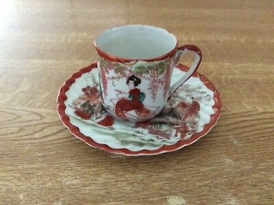 Vintage Satsuma Red Porcelain Cup And Saucer