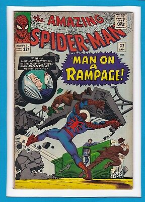 """Amazing Spider-Man #32_January 1966_Very Good+_""""man On A Rampage""""_Silver Age!"""