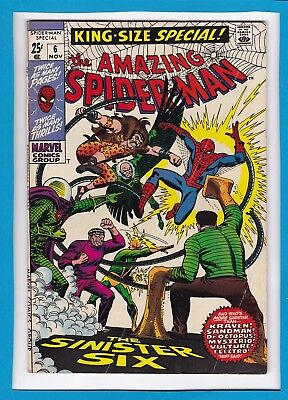 """Amazing Spider-Man King-Size Special #6_Nov 1969_Fine Minus_""""the Sinister Six""""!"""