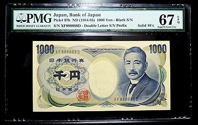 1984-93 Bank of Japan 1000 Yen Solid Lucky Number XF 888888 D PMG 67 EPQ