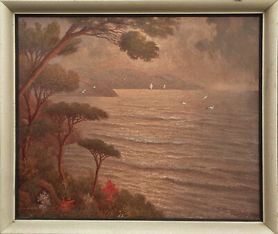 """jean Andre"" French School ""sunset On The Devon Coast"" Fine Oil Painting C1950"