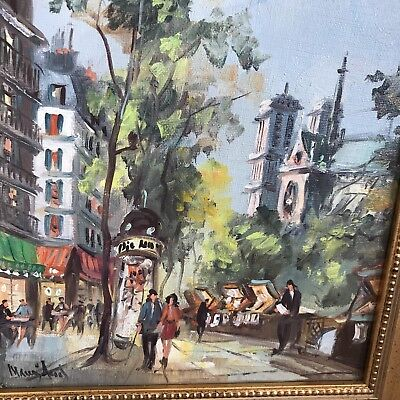 Signed Paris Street Scene Oil On Canvas Framed Original Cathedral