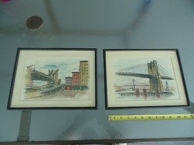 2 Harold Radgiff Original Watercolor Pen & Ink Painting's of Brooklyn Heights NY