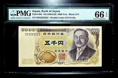 1984-93 Bank of Japan 5000 Yen Solid Lucky Number DD 222222 Z PMG 66 EPQ