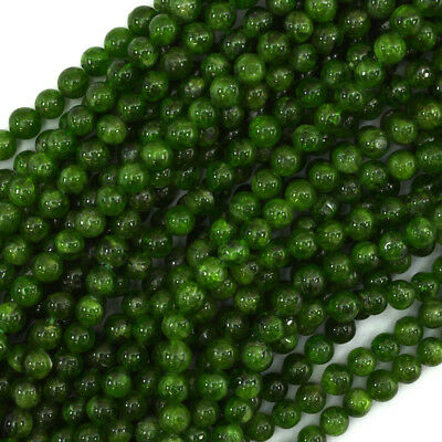 """4.5 - 5mm Russian green chrome diopside round beads 15.5"""" strand"""