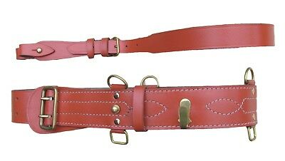 Sam Browne Belt + Sam Brown Cross Shoulder Strap Leather Brass